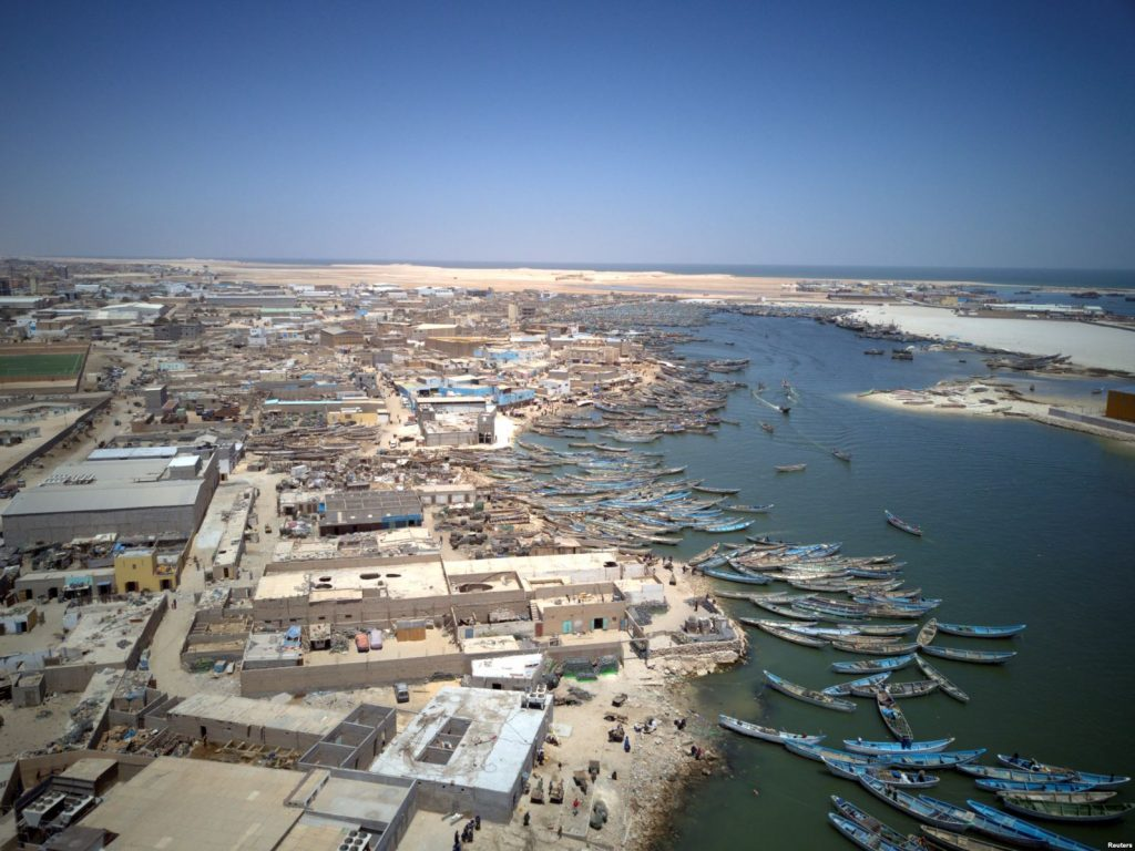 An aerial view of fishing boats moored in Nouadhibou, Mauritania