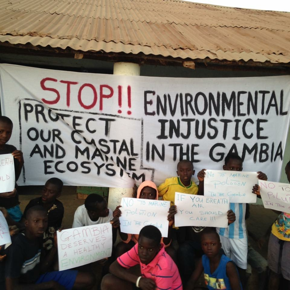 Youths are protesting in the Gambia against the destruction of their environment.