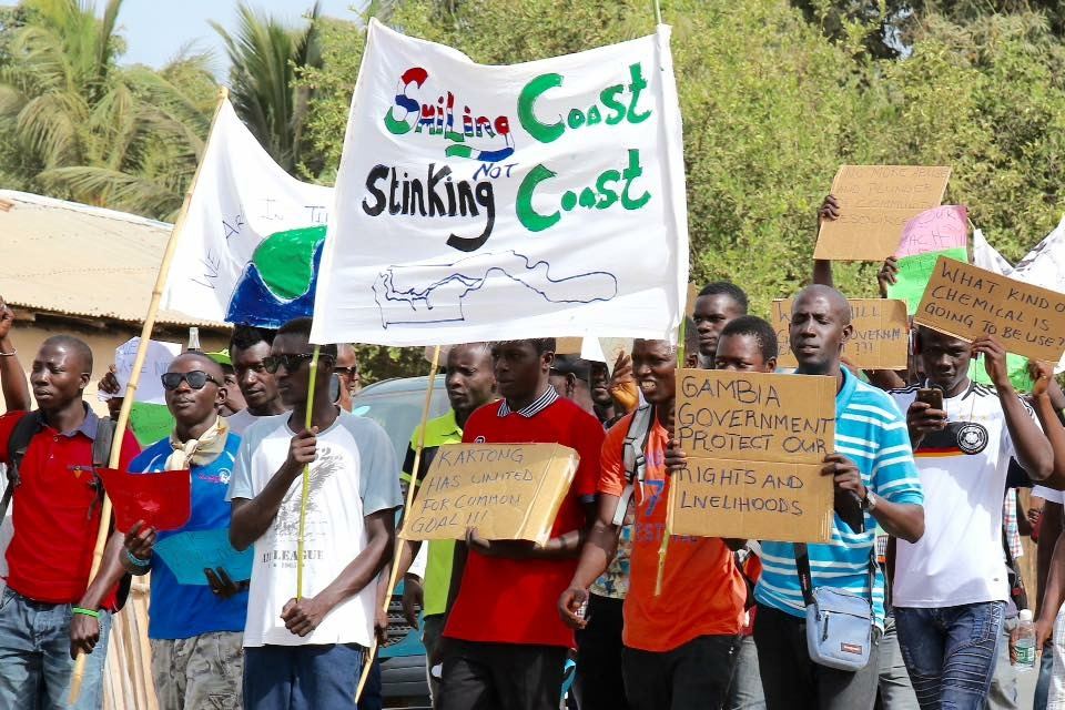 Youths protesting in earlier protests in the village Kartong in the Gambia